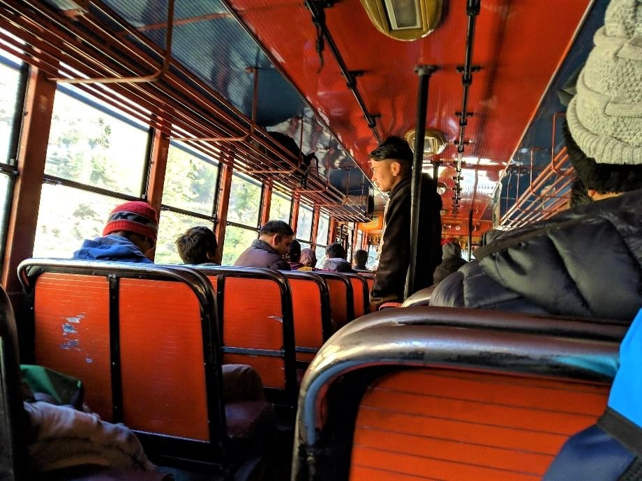 Travelling on a local bus from Manikaran to Barshaini